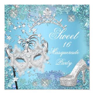 Chaussure bleue de diadème de partie de mascarade carton d'invitation  13,33 cm