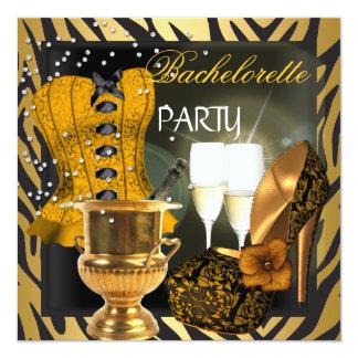 Chaussures de corset de noir d'or de partie de carton d'invitation  13,33 cm
