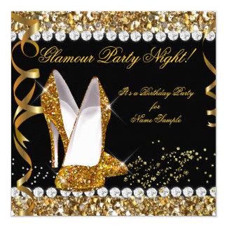 Chaussures de noir d'or de scintillement de nuit carton d'invitation  13,33 cm