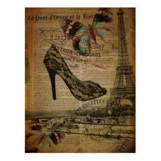 Chaussures girly vintages de Tour Eiffel de Paris Carte Postale