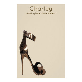 Chaussures strappy stylets en cuir d'or - papier à lettre personnalisable