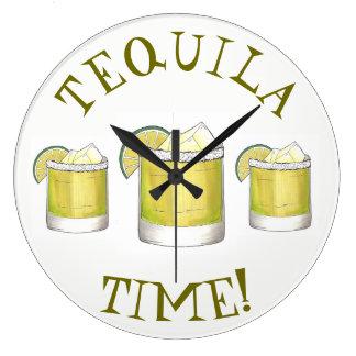 Chaux de cocktail de cocktail de margarita de grande horloge ronde