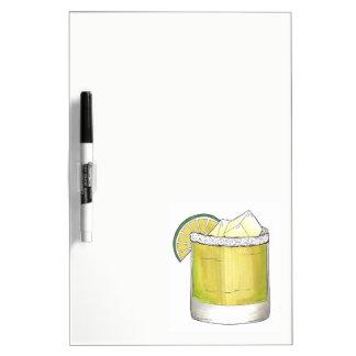 Chaux de cocktail en verre de cocktail de tableau effaçable à sec