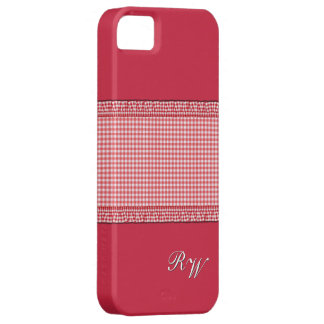 Checkered rouge avec le monogramme coque iPhone 5