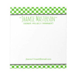 Checkered vert bloc-note