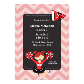 Cheerleader, kiest uw eigen kleur als achtergrond 12,7x17,8 uitnodiging kaart