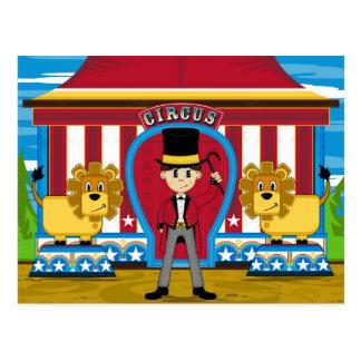 Chef de piste et lions de cirque de Bigtop Carte Postale