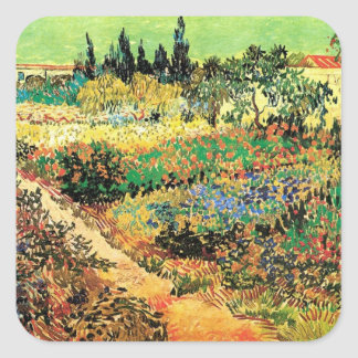 Chemin de jardin fleurissant de Van Gogh, Sticker Carré