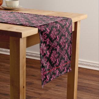 Chemin De Table Court Coureur rose et noir antique de Tableau de damassé
