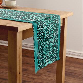 Chemin De Table Court Coureur turquoise luxueux de Tableau de léopard