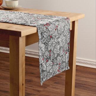 Chemin De Table Court Fraises et feuille de Nouveau d'art, gris et blanc