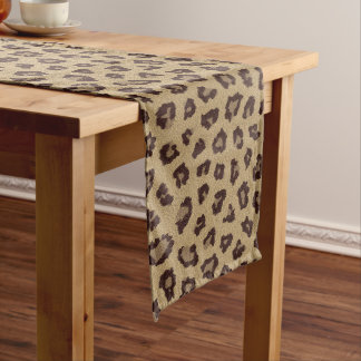 Chemin De Table Long Fourrure d'animal de peau de léopard
