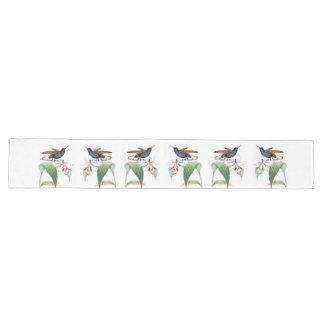 Chemin De Table Long L'orchidée d'oiseaux de colibri fleurit le coureur