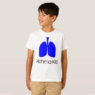 Chemise bleue d'enfant d'asthme de poumons t-shirt