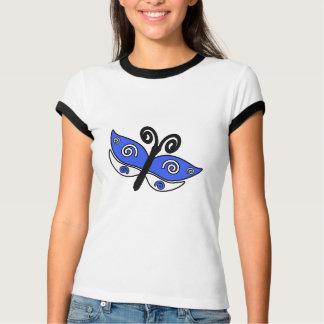 Chemise bleue et de blanc buttefly t-shirt