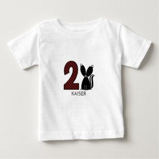 Chemise d'anniversaire de plaid de mouffette de t-shirt pour bébé