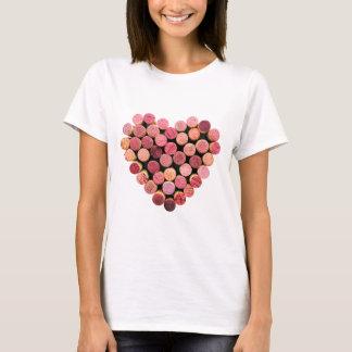 Chemise de coeur de liège de vin t-shirt