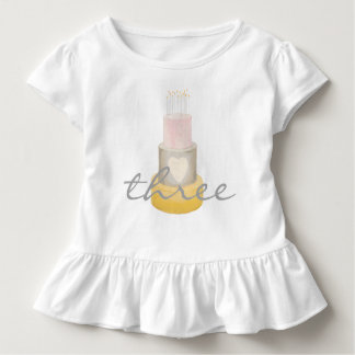 Chemise de l'anniversaire d'aquarelle de la fille t-shirt pour les tous petits