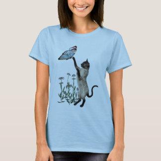 Chemise de marguerites de papillon de chat siamois t-shirt