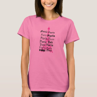 Chemise rose de Paris pour des femmes T-shirt