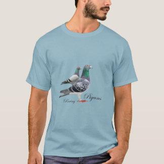 Chemisette avec paire de pigeons voyageur t-shirt