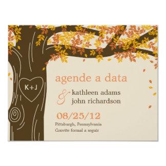 Chêne sauver les cartes de date - orange
