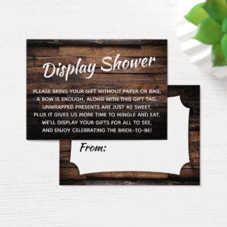 Chèque-cadeau nuptiale de douche d'affichage en
