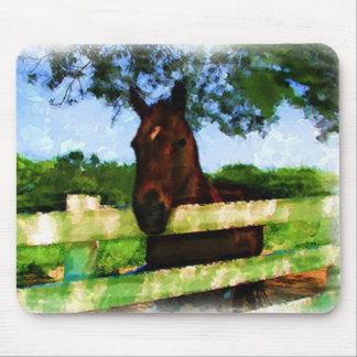 Cheval au-dessus de la peinture de barrière tapis de souris