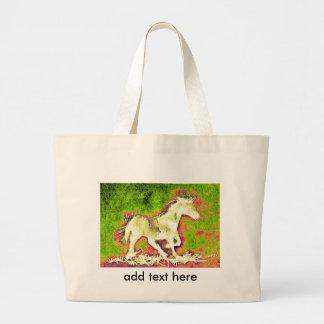 Cheval blanc de joyeuses vacances chaudes grand sac