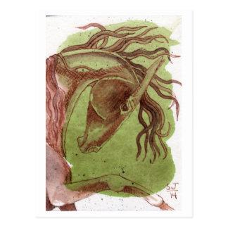 Cheval de dressage sur l'aquarelle verte carte postale