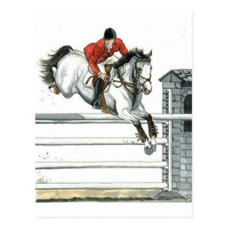 Cheval gris de Showjumping au-dessus des barrières Carte Postale