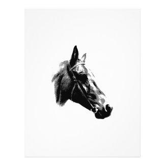 Cheval noir et blanc d'art de bruit prospectus 21,6 cm x 24,94 cm