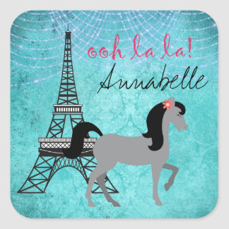 Cheval personnalisé de gris de La de La de poney Sticker Carré