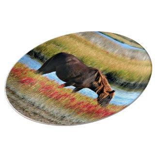 Cheval sauvage mangeant en The Field Assiette En Porcelaine