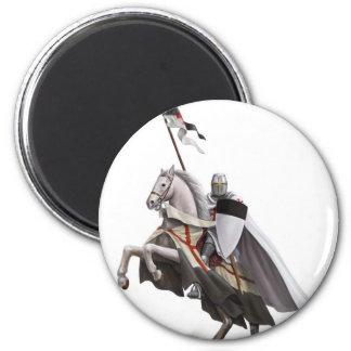 Chevalier monté Templar Magnet Rond 8 Cm