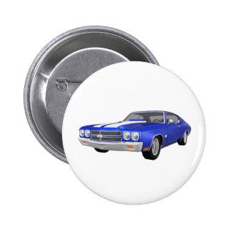Chevelle 1970 solides solubles : Finition bleue : Badge Rond 5 Cm