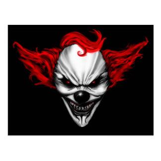 Cheveux mauvais heureux de rouge de clown carte postale