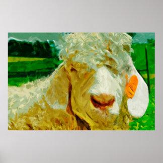 Chèvre angora avec l'impressionisme d'abrégé sur