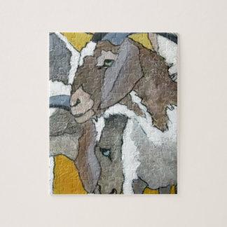 Chèvres mignonnes caressant puzzle