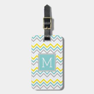 Chevron bleu du monogramme | et gris en pastel étiquette à bagage