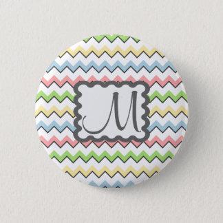 Chevron en pastel avec le monogramme par Shirley Badge Rond 5 Cm