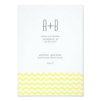Chevron jaune vous dedans ? Réservez la date Carton D'invitation 12,7 Cm X 17,78 Cm