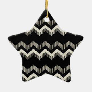 Chevron noir et gris de motif Girly de très bon Ornement Étoile En Céramique