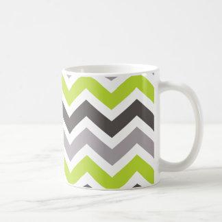 Chevron vert et gris mug