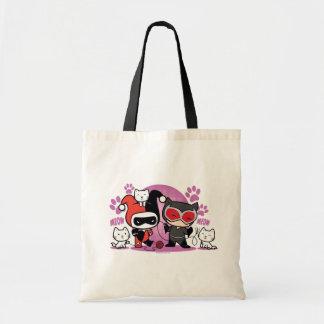 Chibi Harley Quinn et Catwoman de Chibi avec des Sac En Toile Budget