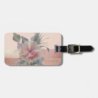 Chic élégant élégant, fleurs étiquettes bagages