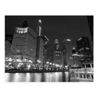Chicago du centre noire et blanche carte postale
