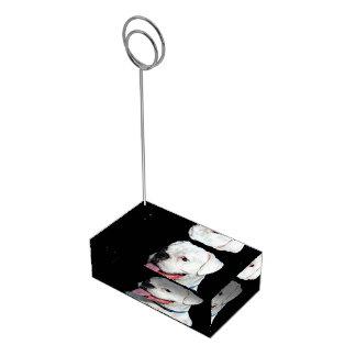 Chien blanc de boxeur porte-cartes de  table