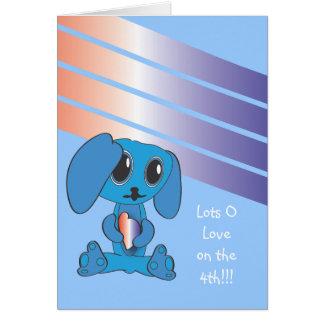 Chien bleu avec la carte de coeur 4 juillet