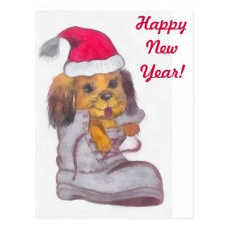 Chien de bonne année carte postale